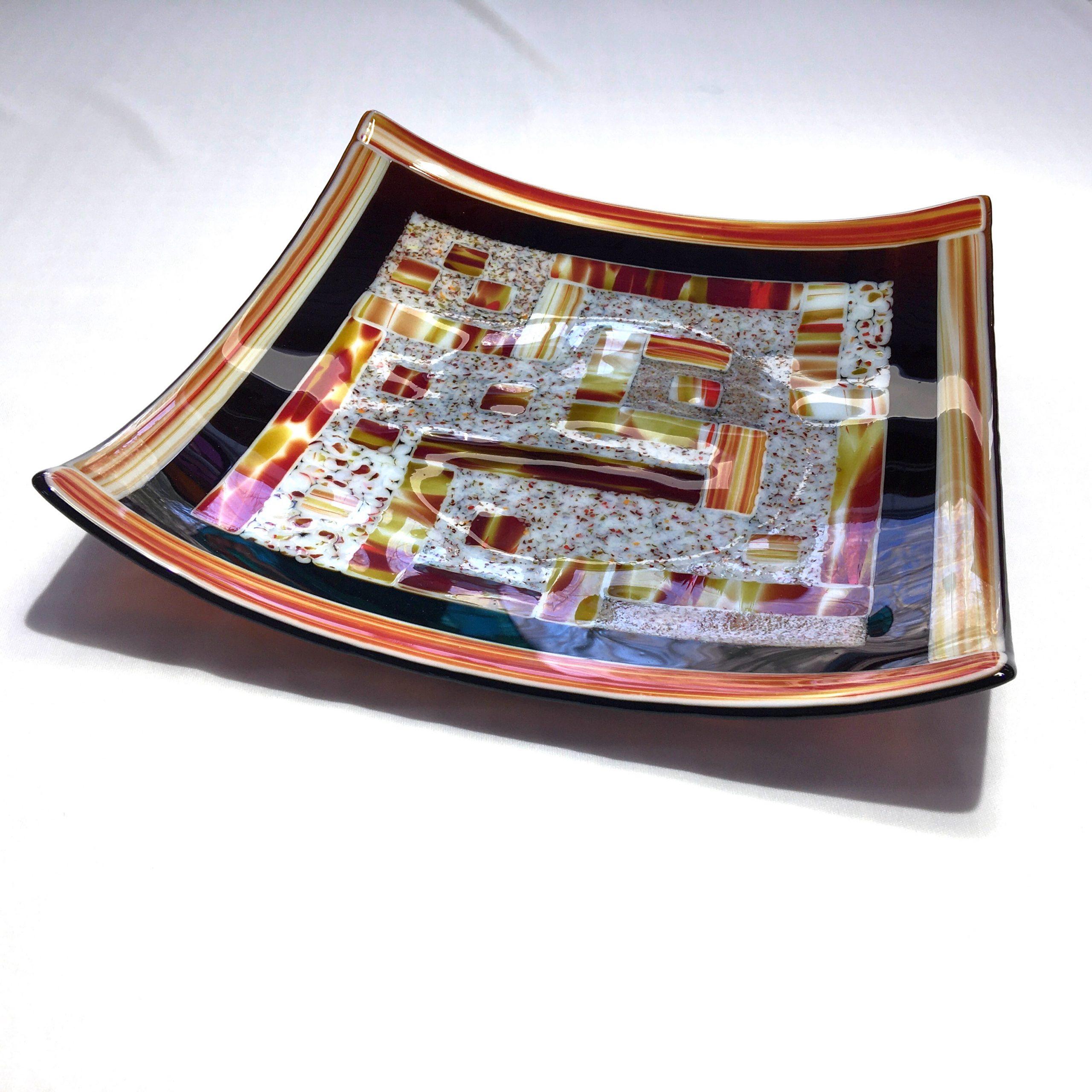 Assiette de service en verre carrée, plat de présentation