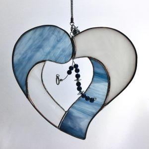 vitrail en forme de coeur, coeur de vitrail, coeur en tiffany, Tiffany en forme de coeur
